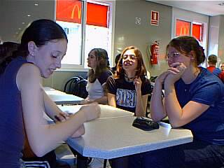 Alice Denison, Vicky Taylor, Rebecca Wilcox and Amy Rigby in McDonald's. (Trademarks acknowledged.)