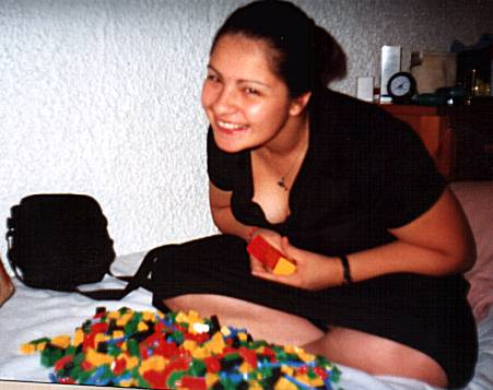 Danielle Sullivan playing with the LEGO we nabbed from McDonald's. (Trademarks acknowledged.)