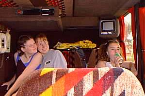 Laura Washington, Helen Broadbent and Tarren Jones on the coach, 'in the Pantry'.