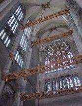 The north transept and the wooden struts keeping it together.