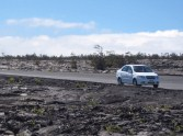 The car on a lava field