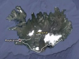 Route across Iceland