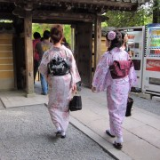 Some beautiful ladies in kimonos.