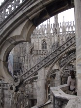 Traceried marble flying buttresses
