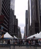 Some kind of festival on Avenue of the Americas (6th Avenue).