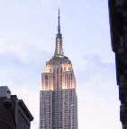 The Empire State Building, at dusk.