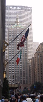Waldorf-Astoria, MetLife Building and New York Central Tower on Park Avenue.