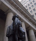 Federal Hall, with its statue of George Washington. Seat of the government when New York was the capital city.