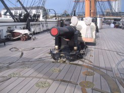 A moveable deck gun on HMS Warrior
