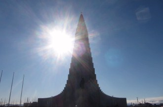 Hallgrimskirkja. The statue in front of the church commemorates Leif Erikson, the first Viking in America.