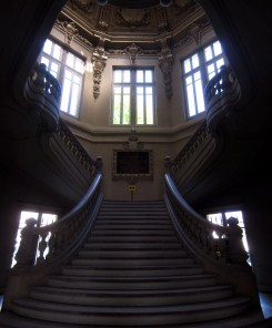 The grand staircase of the town hall.