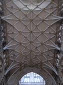 The south (main) transept, destroyed by fire just before my birth and restored with bosses designed by Blue Peter viewers